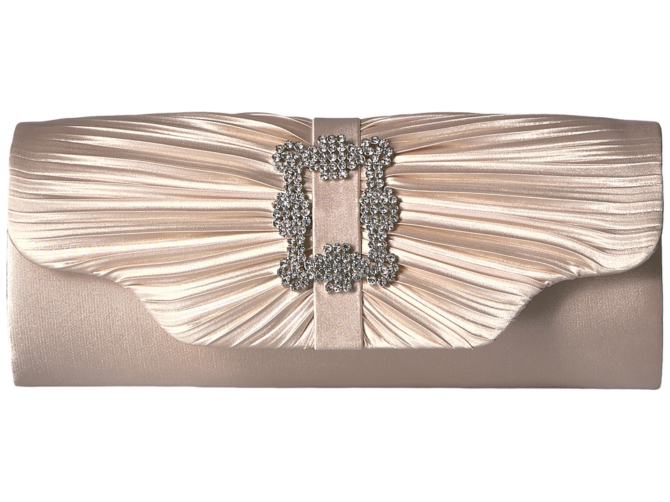 Jessica McClintock Mary Satin Pleated Clutch with Brooch (Champagne) Clutch Handbags