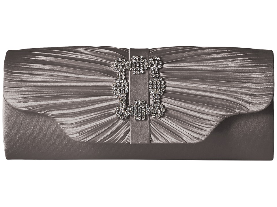 Jessica McClintock Mary Satin Pleated Clutch with Brooch (Pewter) Clutch Handbags