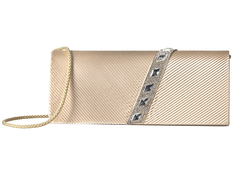 Jessica McClintock Nancy Satin Pleated Clutch with Rhinestones (Champagne) Clutch Handbags