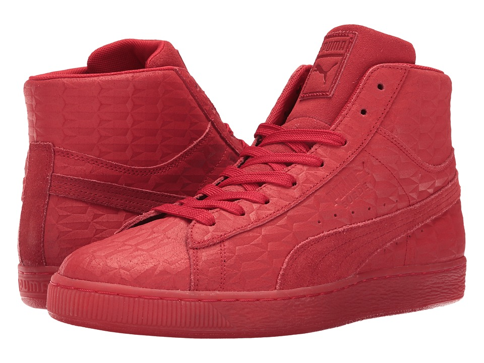 PUMA - Suede Mid Me Iced (High Risk Red/White) Men's Shoes