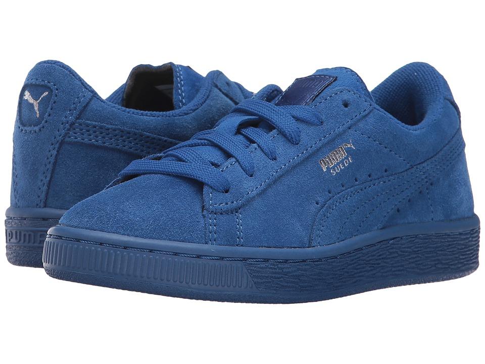 Puma Kids - Suede PS (Little Kid/Big Kid) (Monaco Blue/Monaco Blue) Kids Shoes