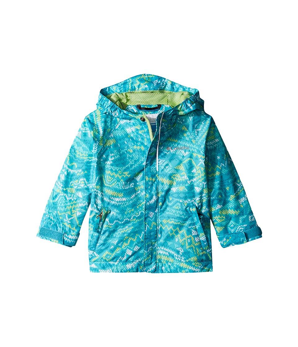 Columbia Kids Fast Curioustm Rain Jacket (Toddler) (Geyser Wave Print/Jade Lime) Girl