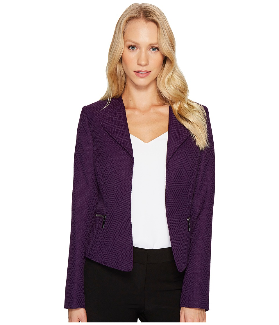 Tahari by ASL - Open Drape Front Jacket (Eggplant) Women's Coat