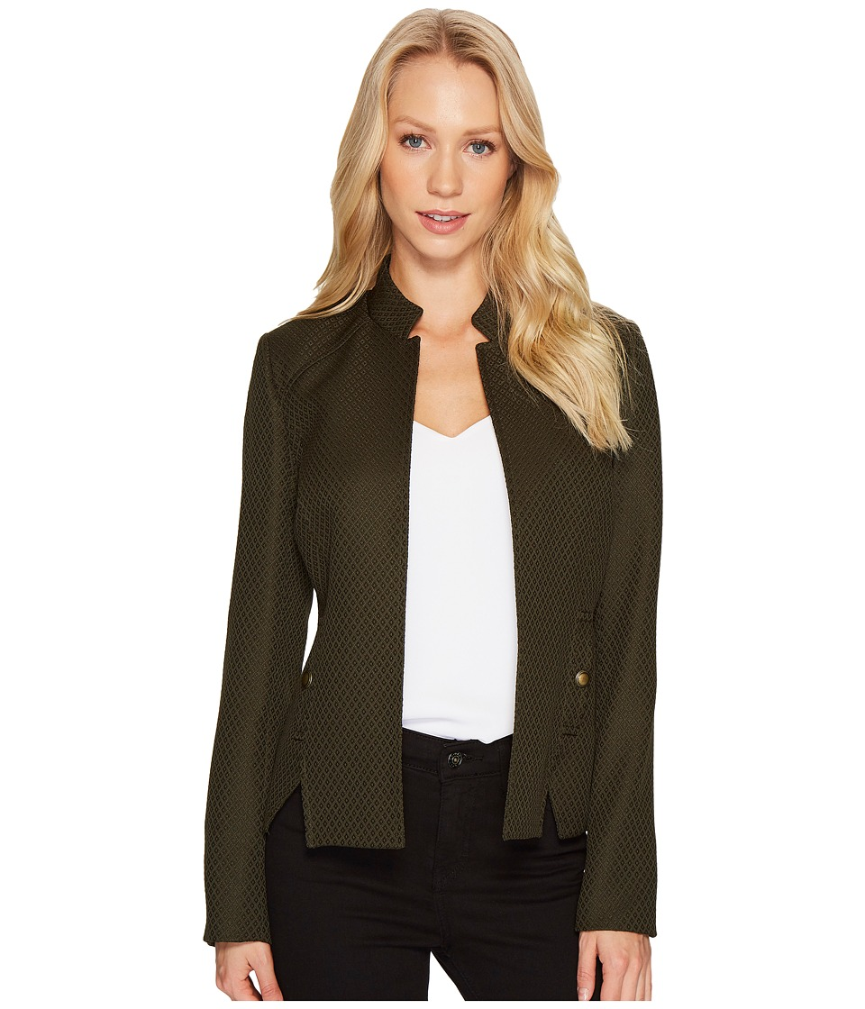 Tahari by ASL - Stand Collar Textured Long Sleeve Jacket (Olive/Green) Women's Coat