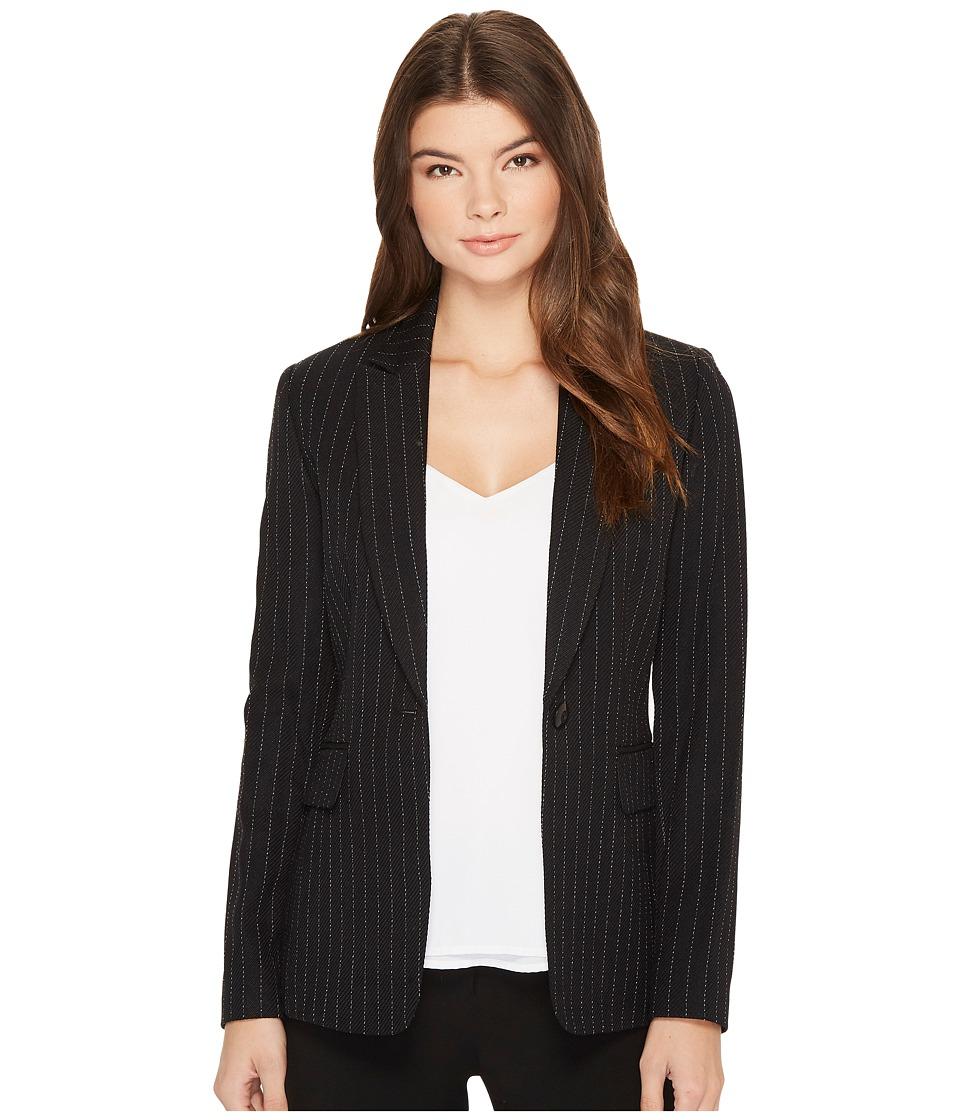 Tahari by ASL - Pinstripe Jacket (Black/Ivory) Women's Coat