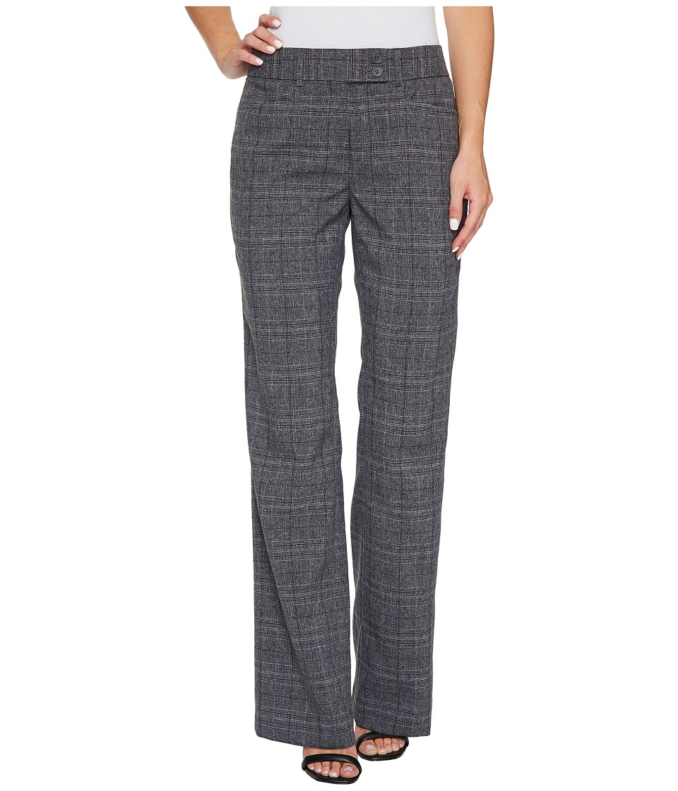 Tahari by ASL - Plaid Pants with Tab Waistband (Grey/Plum) Women's Casual Pants