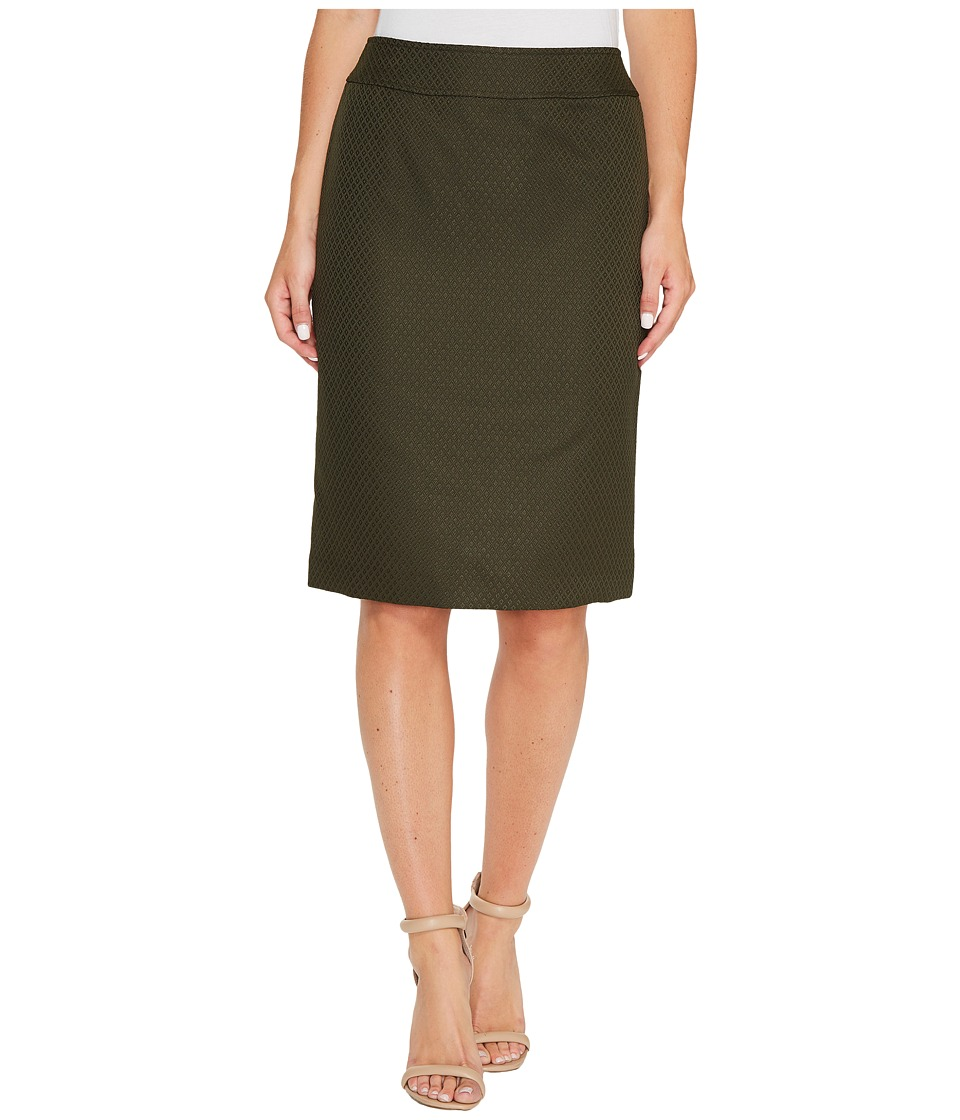 Tahari by ASL - Textured Pencil Skirt (Olive/Green) Women's Skirt