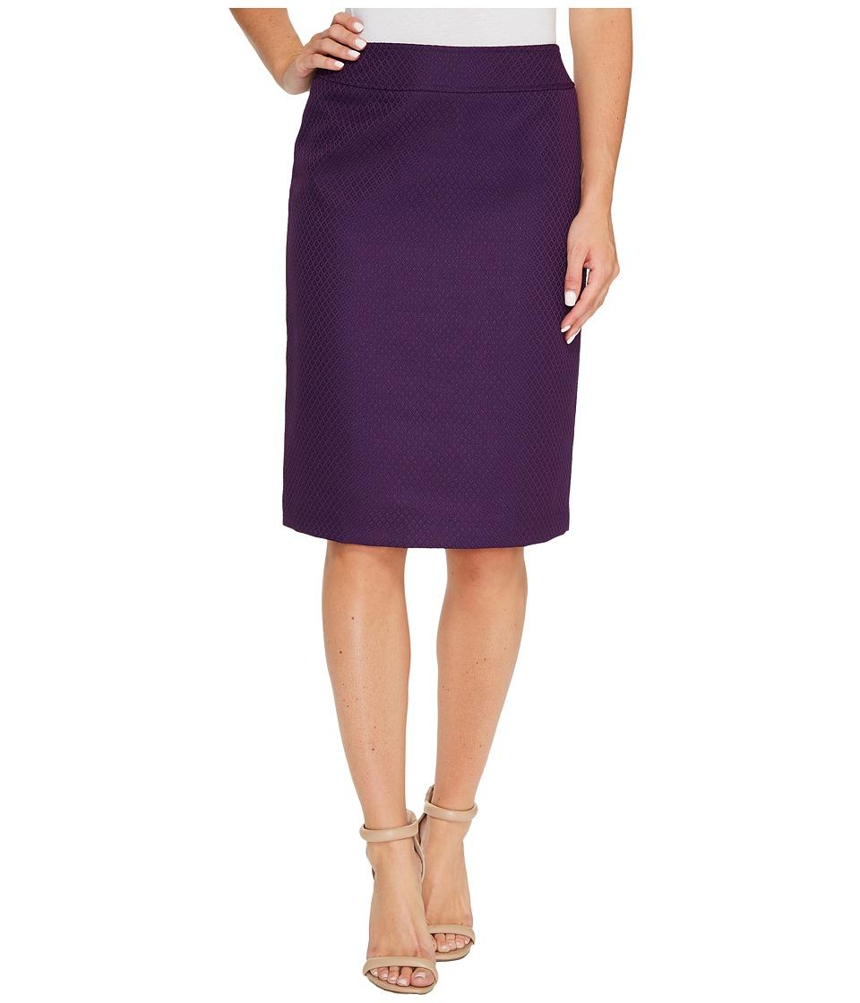 Tahari by ASL - Textured Pencil Skirt (Eggplant) Women's Skirt
