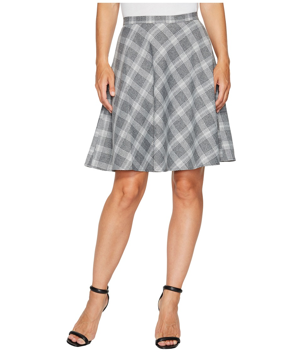 Tahari by ASL Plaid Flip Skirt (Grey/Ivory) Women