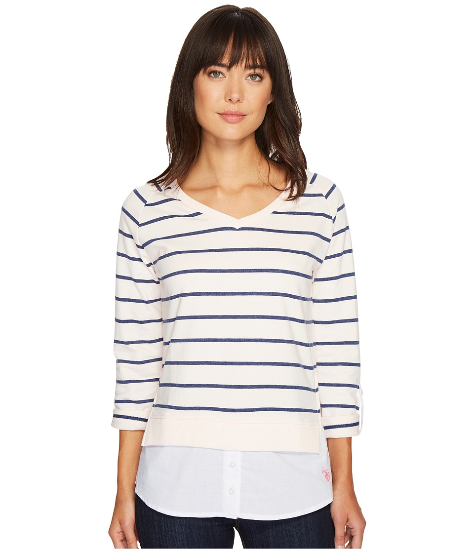 U.S. POLO ASSN. - Striped French Terry and Woven Twofer Top (Giddy Pink) Women's Clothing