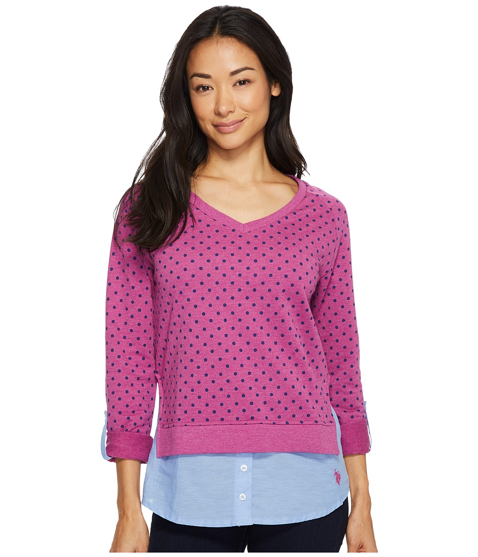 U.S. POLO ASSN. - Polka Dot French Terry and Woven Twofer Top (Rococo Violet) Women's Clothing