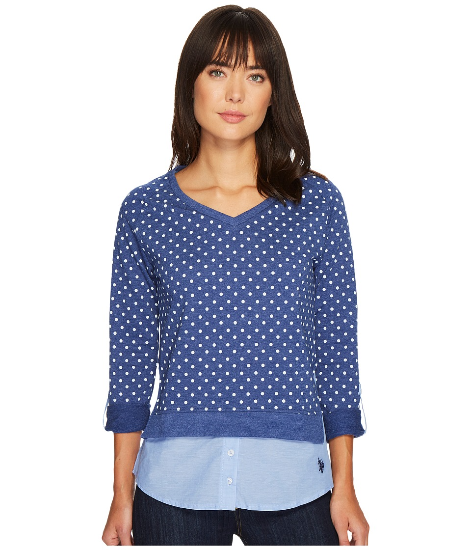 U.S. POLO ASSN. - Polka Dot French Terry and Woven Twofer Top (Cloudburst Blue) Women's Clothing