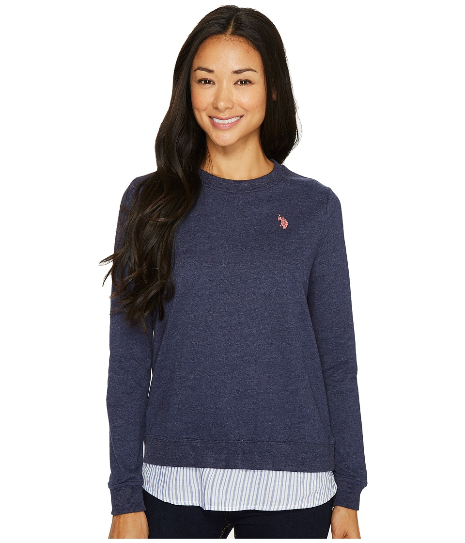 U.S. POLO ASSN. - Twofer French Terry and Striped Woven Top (Evening Blue) Women's Clothing