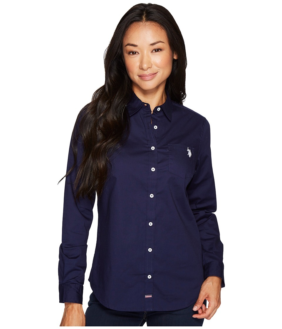 U.S. POLO ASSN. - Woven Pocket Shirt (Evening Blue) Women's Clothing