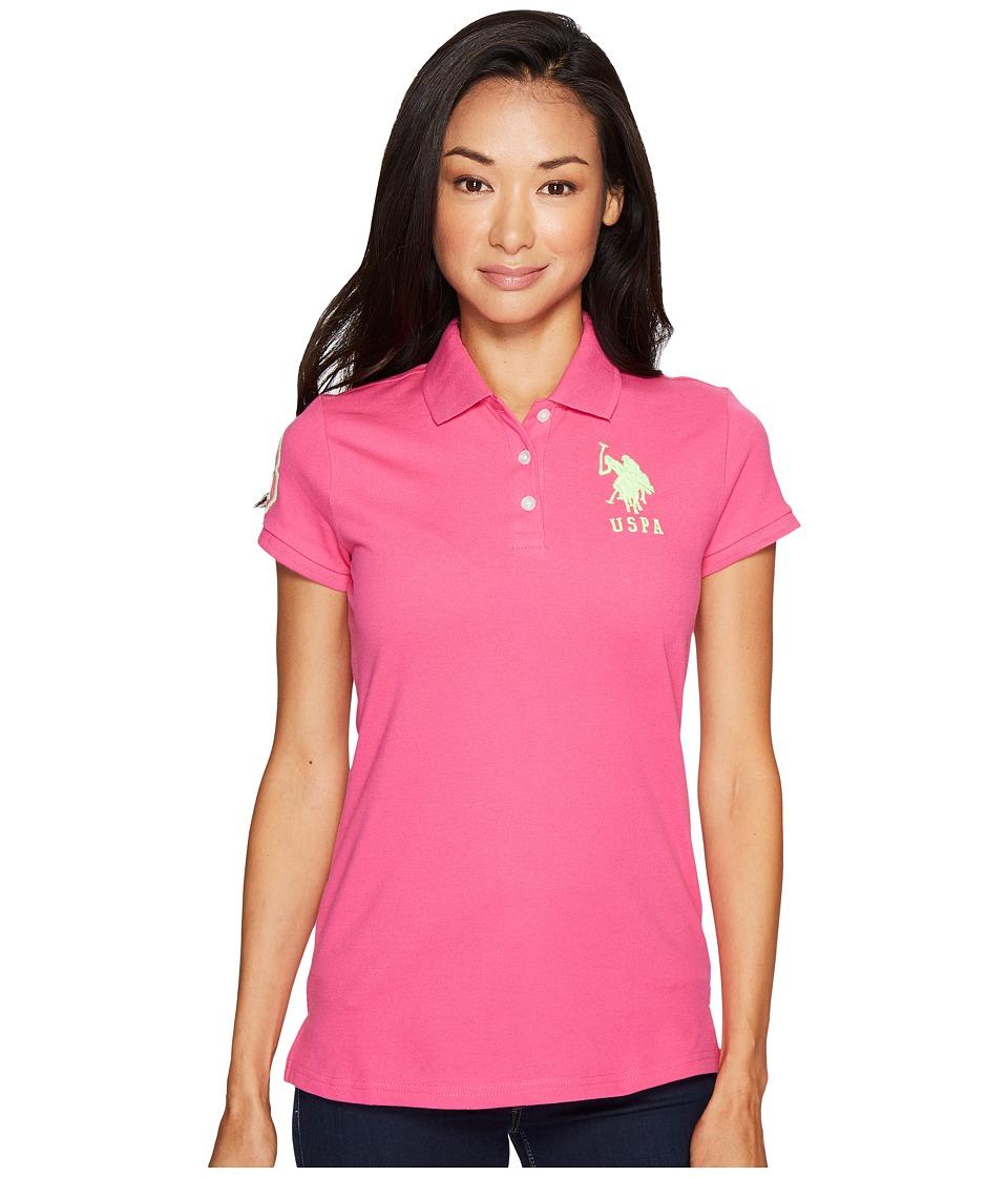 U.S. POLO ASSN. - Neon Logos Short Sleeve Polo Shirt (Bittersweeat Pink) Women's Short Sleeve Knit