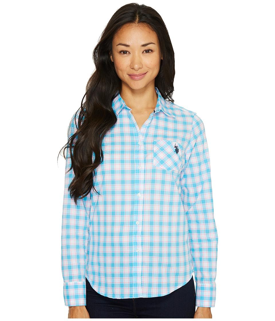 U.S. POLO ASSN. - Long Sleeve Plaid Poplin Shirt (Surf Blue) Women's Clothing