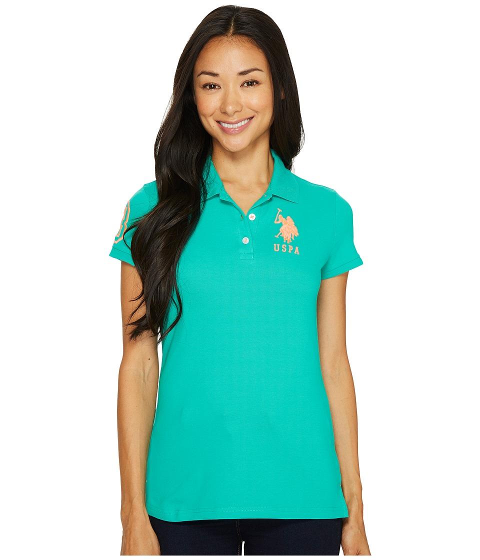 U.S. POLO ASSN. - Neon Logos Short Sleeve Polo Shirt (Emerald Wave) Women's Short Sleeve Knit