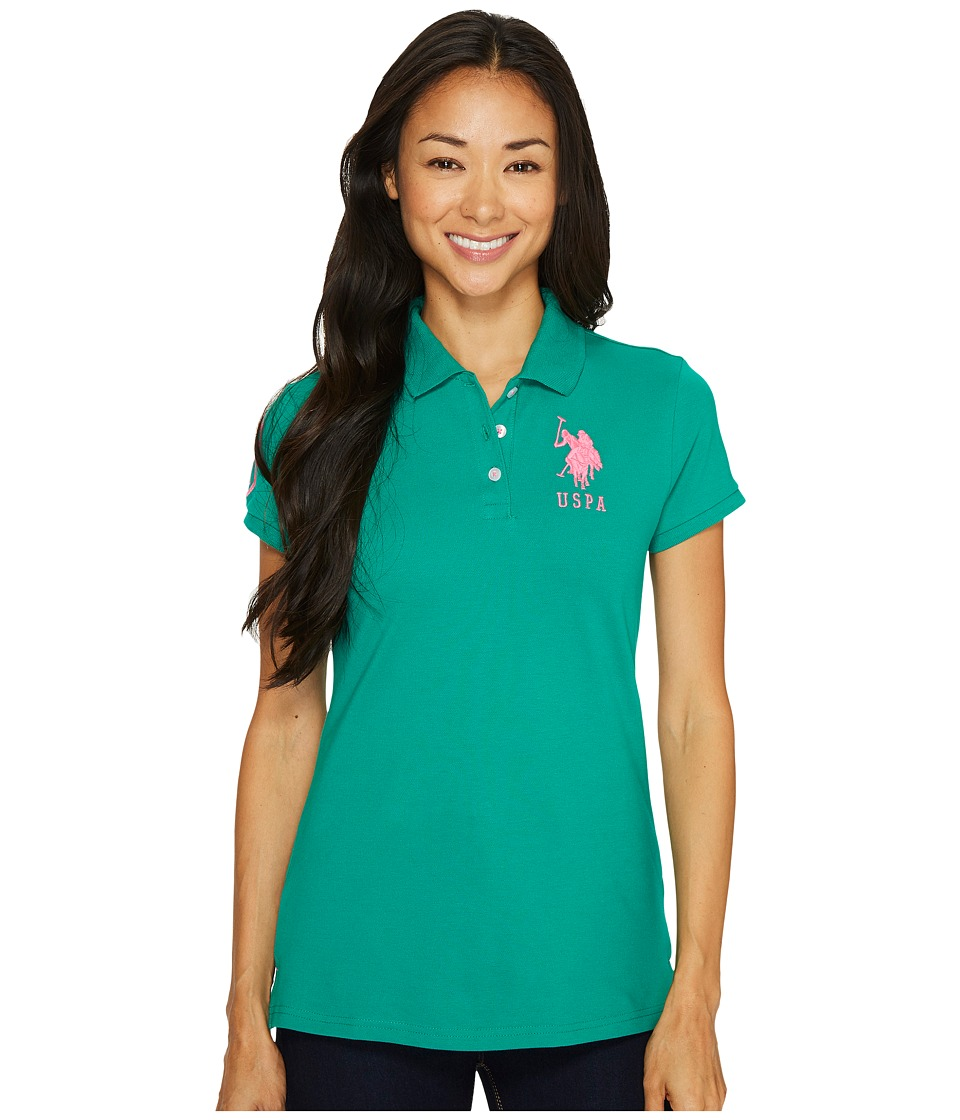 U.S. POLO ASSN. - Neon Logos Short Sleeve Polo Shirt (Pepper Green) Women's Short Sleeve Knit
