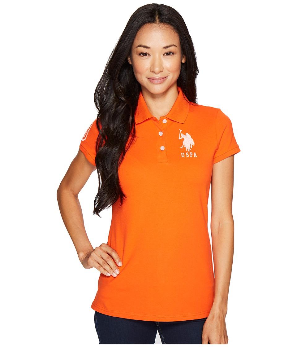 U.S. POLO ASSN. - Neon Logos Short Sleeve Polo Shirt (Orange Mandarin) Women's Short Sleeve Knit