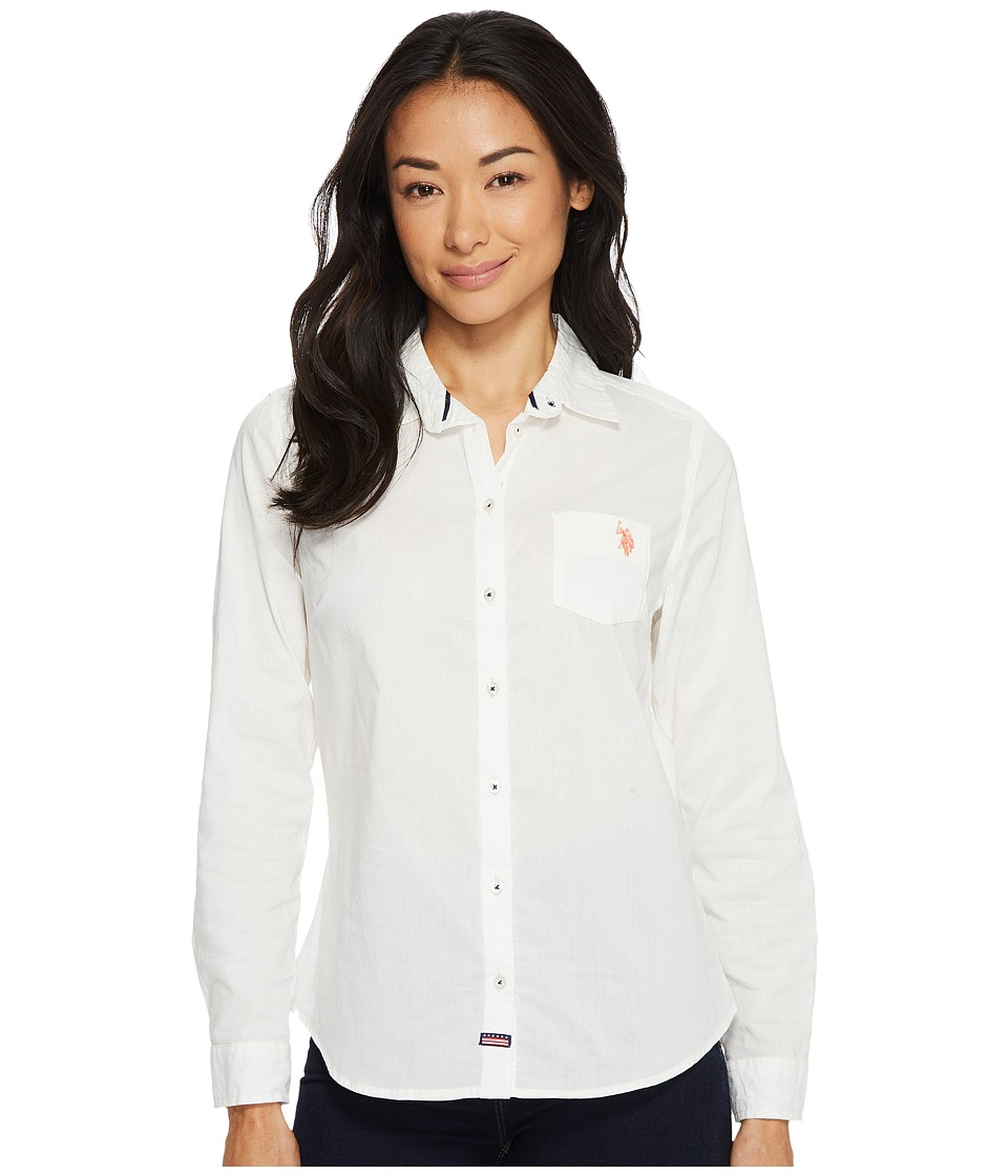 U.S. POLO ASSN. - Solid Woven Top (Marshmallow) Women's Long Sleeve Button Up