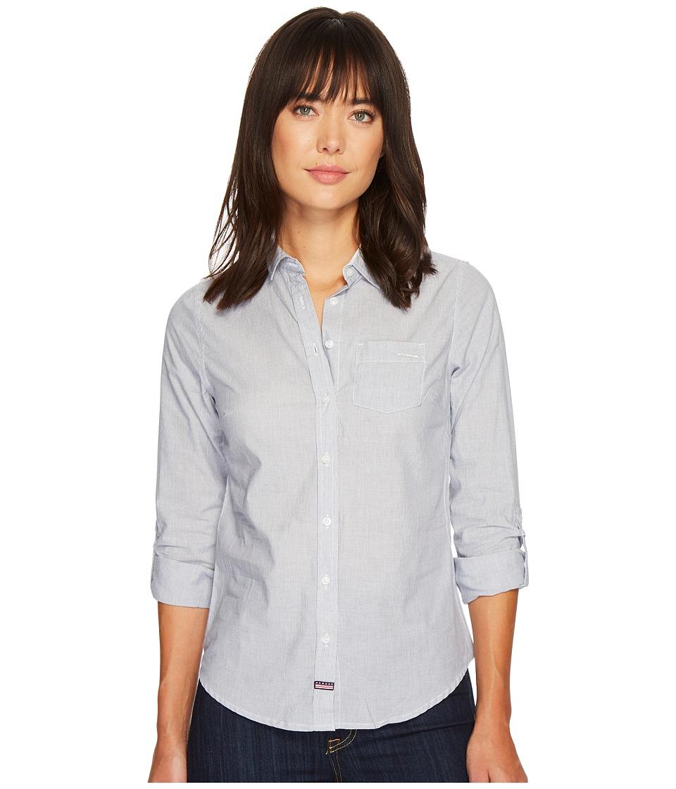 U.S. POLO ASSN. - Striped Shirt (Tribal Navy) Women's Long Sleeve Button Up
