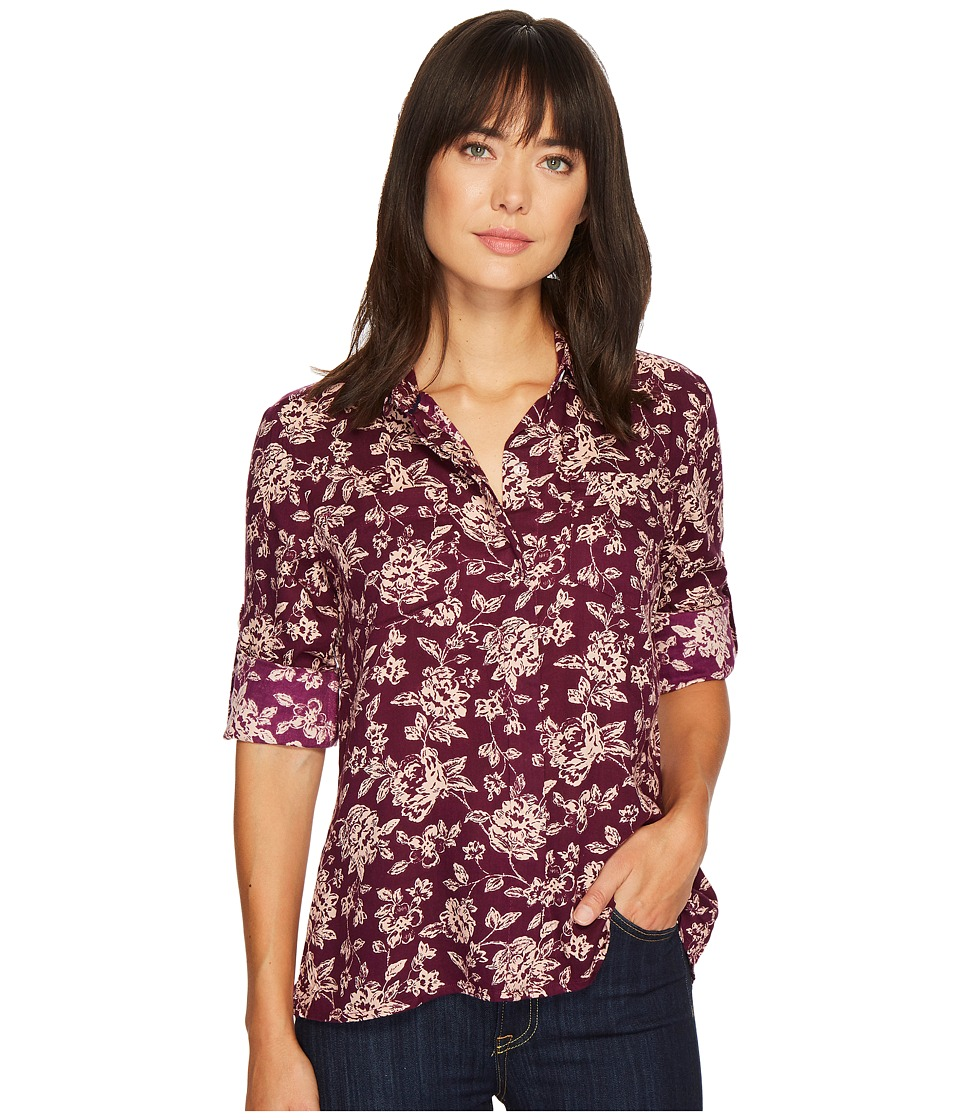 U.S. POLO ASSN. - Long Sleeve Hidden Placket Denim Shirt (Bramble Wine) Women's Clothing