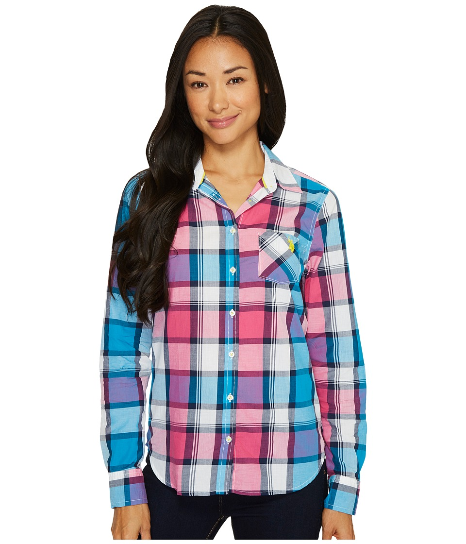 U.S. POLO ASSN. - Plaid Poplin Single Pocket Woven Shirt (Teal Blue) Women's Long Sleeve Button Up