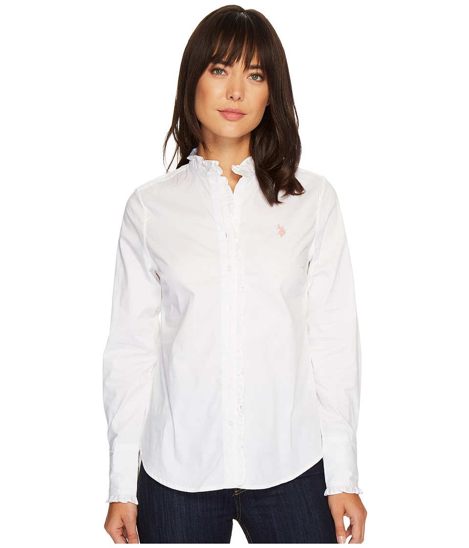 U.S. POLO ASSN. - Ruffle Edged Long Sleeve Shirt (Optic White) Women's Clothing