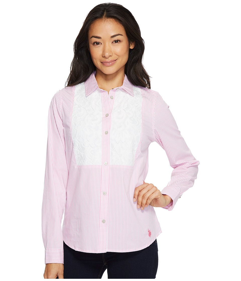 U.S. POLO ASSN. - Long Sleeve Lace Insert Striped Shirt (Hard Candy) Women's Clothing