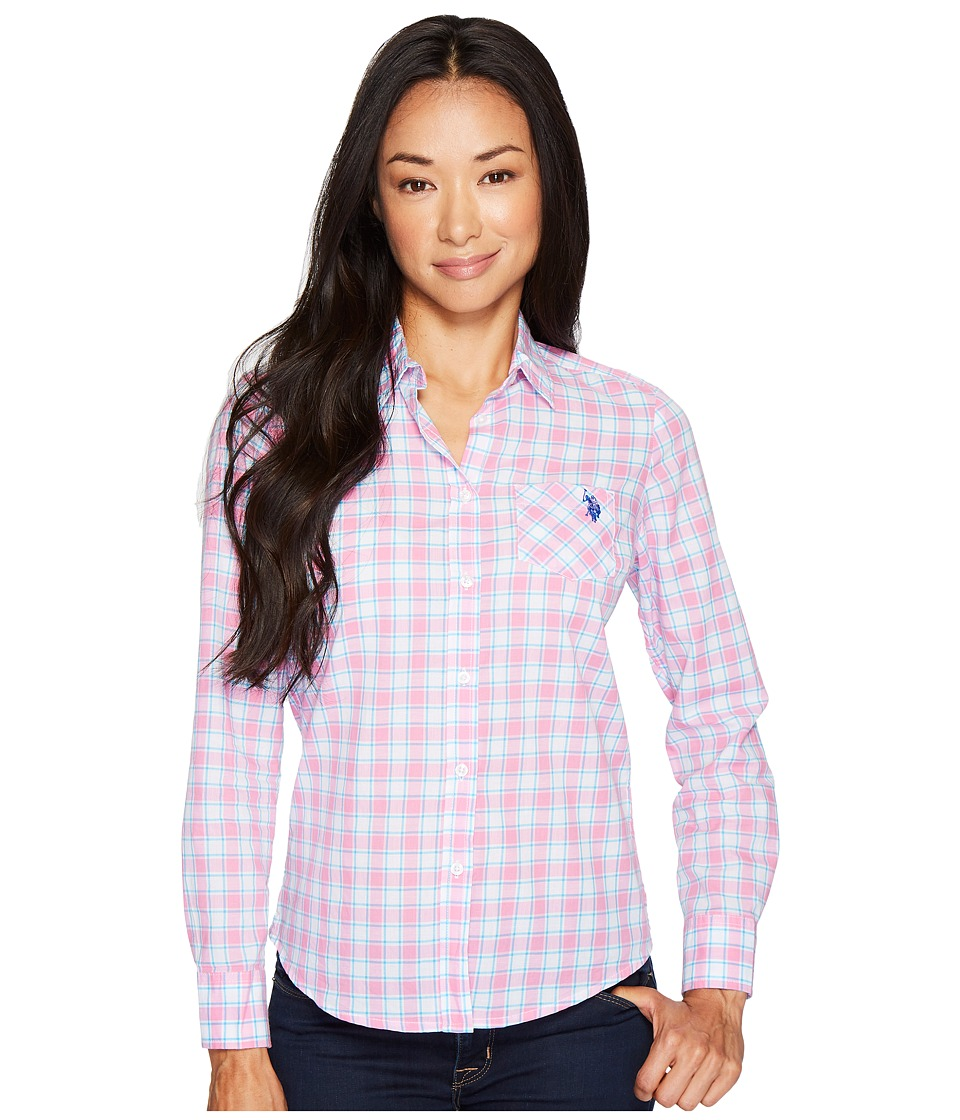 U.S. POLO ASSN. - Long Sleeve Plaid Poplin Shirt (Pink Zinc) Women's Clothing