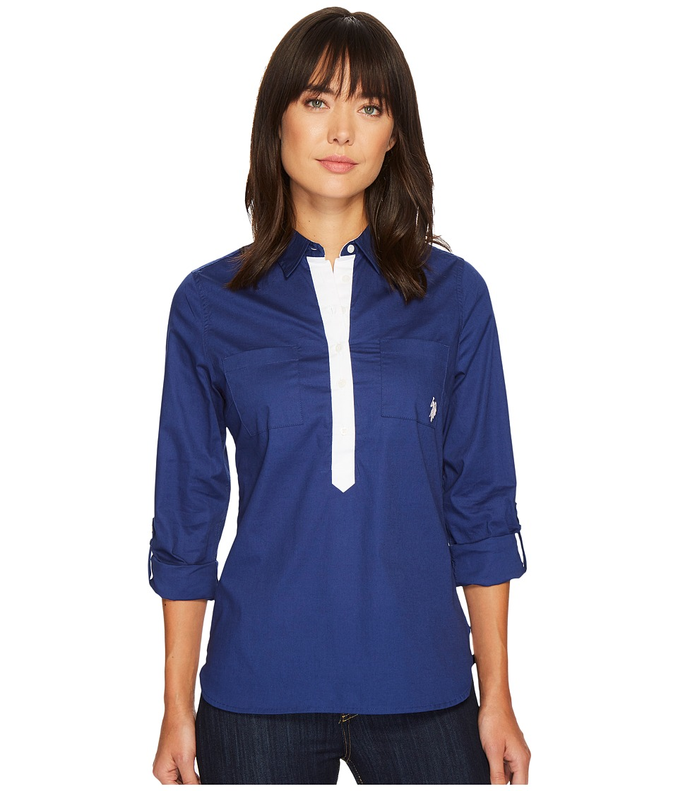 U.S. POLO ASSN. - Contrast Placket Pullover Roll Sleeve Shirt (Cloudburst Blue) Women's Clothing