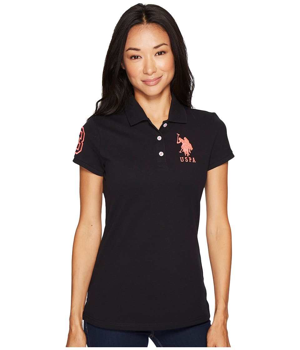 U.S. POLO ASSN. - Neon Logos Short Sleeve Polo Shirt (Anthracite/Pink) Women's Short Sleeve Knit