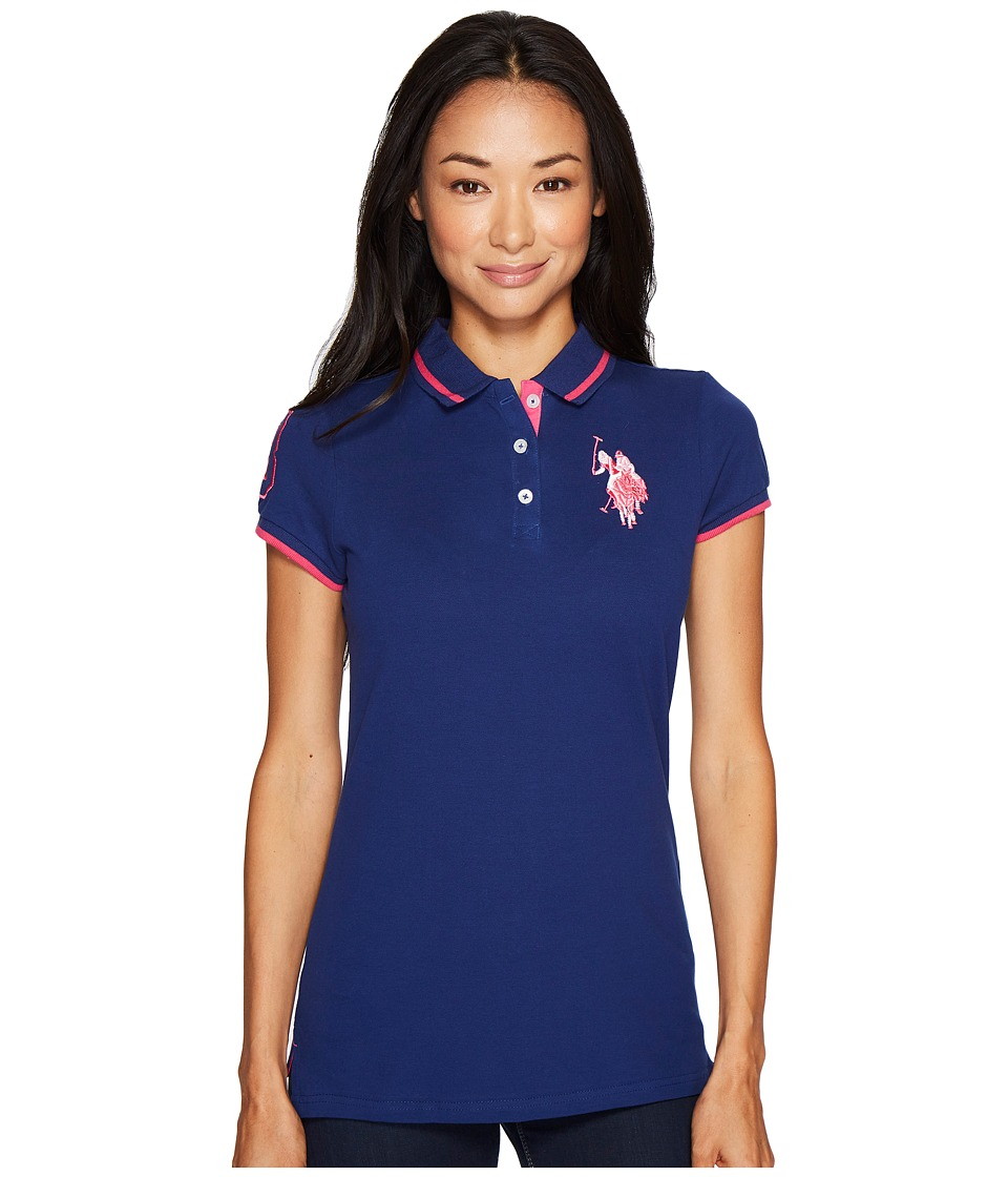 U.S. POLO ASSN. - Solid Pique Polo Shirt (Blue Depths) Women's Short Sleeve Knit