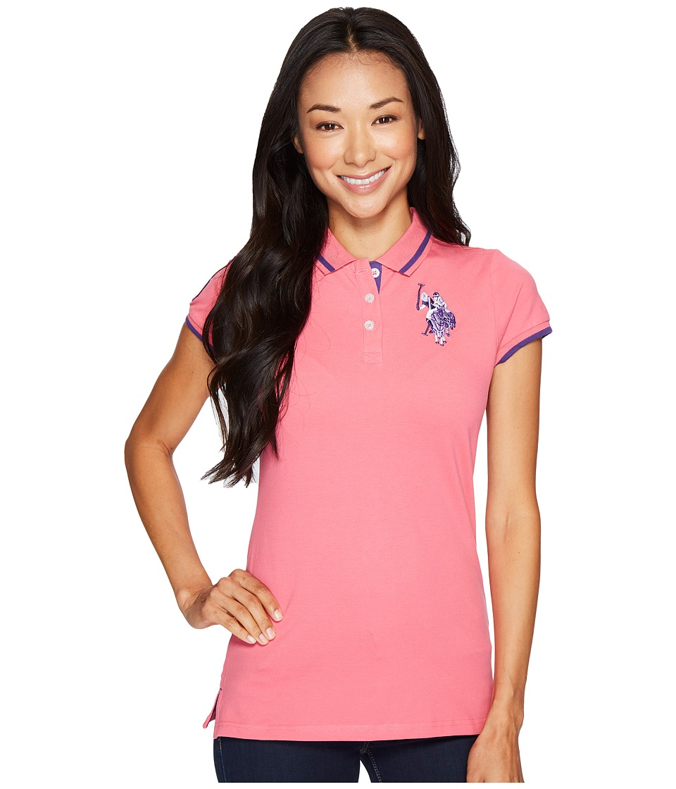 U.S. POLO ASSN. - Solid Pique Polo Shirt (Hot Pink) Women's Short Sleeve Knit