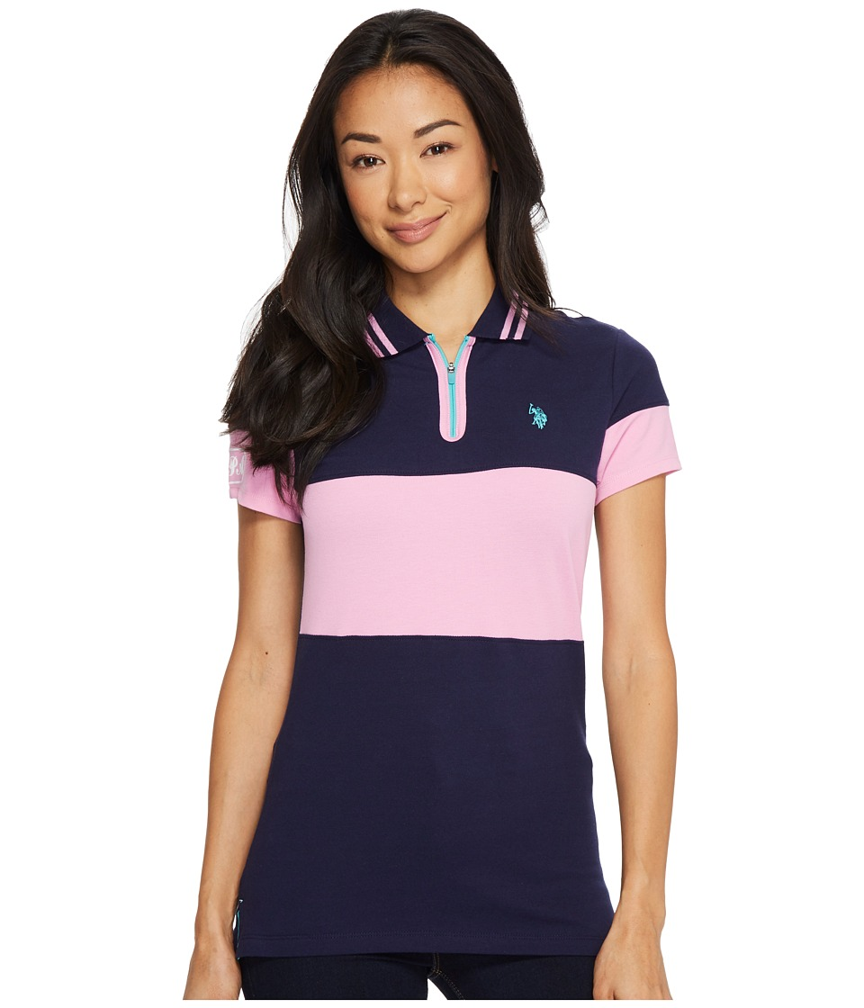 U.S. POLO ASSN. - Zip Placket Stretch Pique Polo Shirt (Evening Blue) Women's Clothing