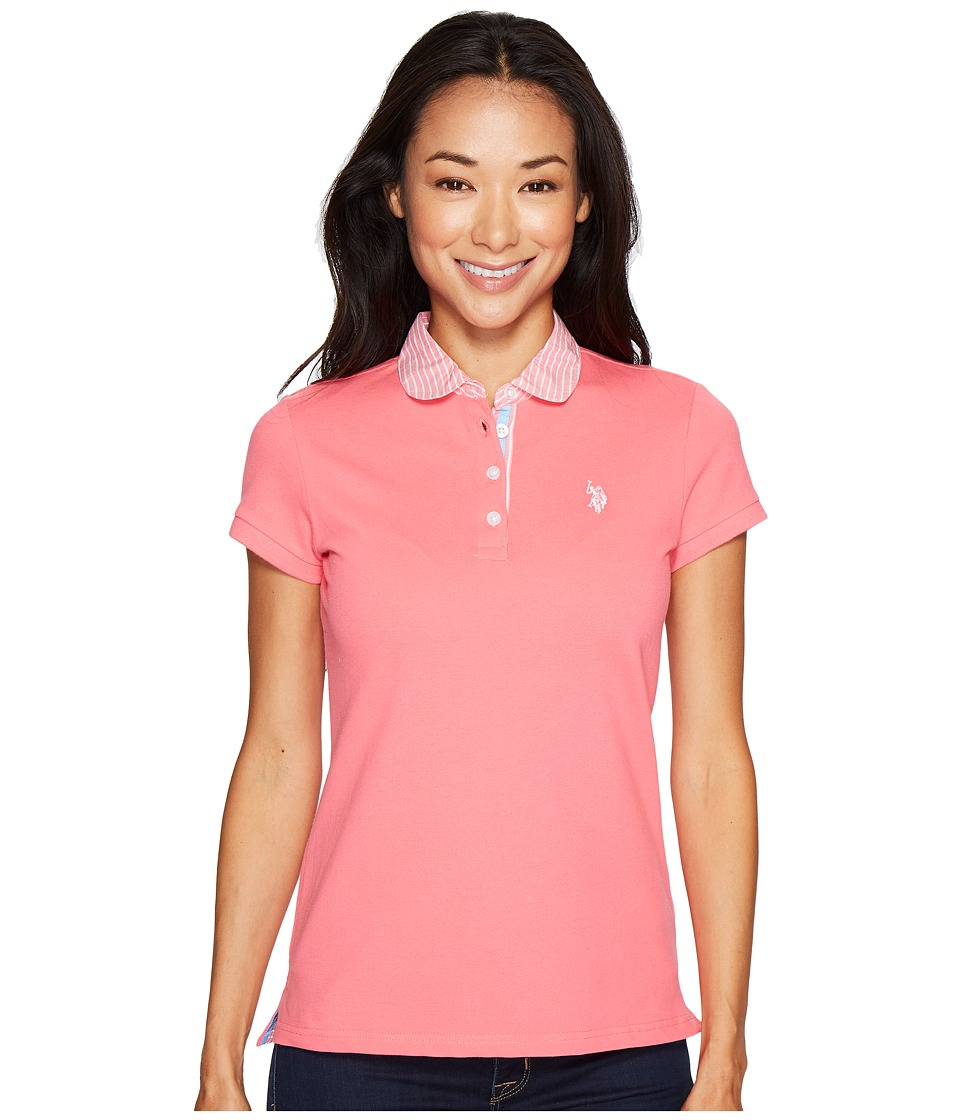 U.S. POLO ASSN. - Woven Trimmed Solid Stretch Pique Polo Shirt (Coral Ribbon) Women's Clothing