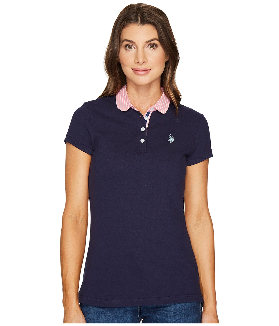 U.S. POLO ASSN. - Woven Trimmed Solid Stretch Pique Polo Shirt (Evening Blue) Women's Clothing