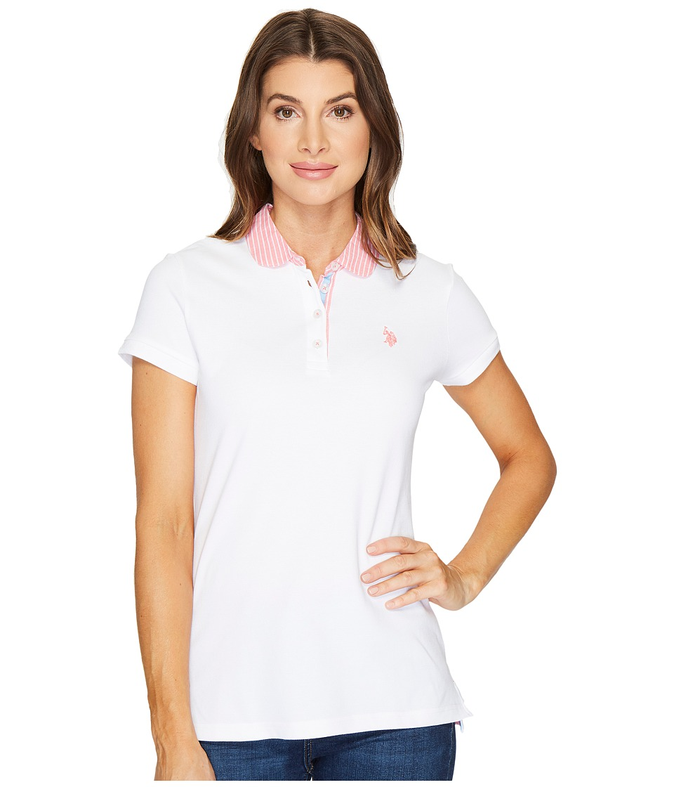 U.S. POLO ASSN. - Woven Trimmed Solid Stretch Pique Polo Shirt (Optic White) Women's Clothing
