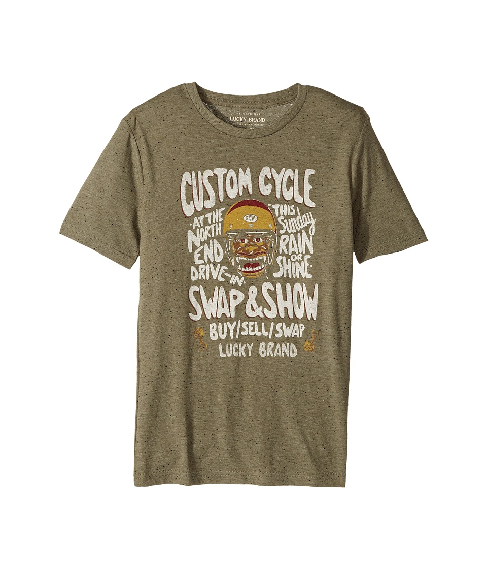 Lucky Brand Kids - Monster Rally Short Sleeve Graphic Tee (Big Kids) (Olive Night) Boy's T Shirt