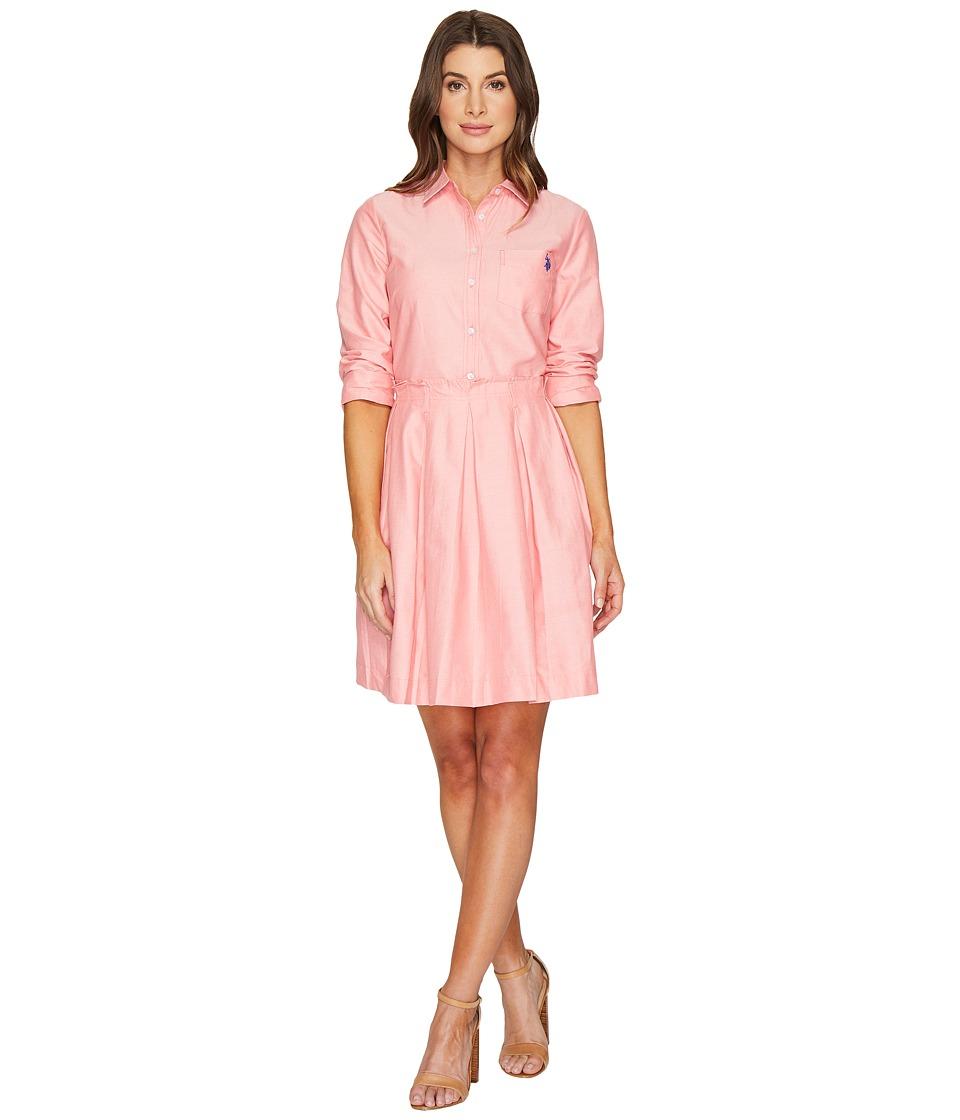 U.S. POLO ASSN. - Oxford Shirtdress with Paper Bag Waistline (Coral Ribbon) Women's Dress