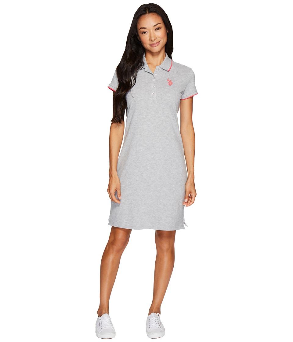 U.S. POLO ASSN. Stretch Pique Color Tippedl Logo Polo Dress (Heather Grey) Women