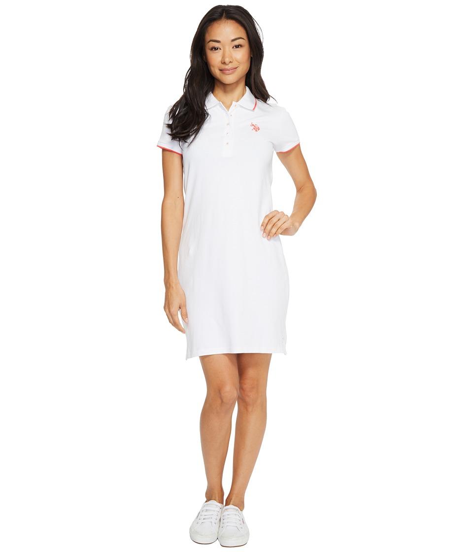 U.S. POLO ASSN. Stretch Pique Color Tippedl Logo Polo Dress (Optic White) Women