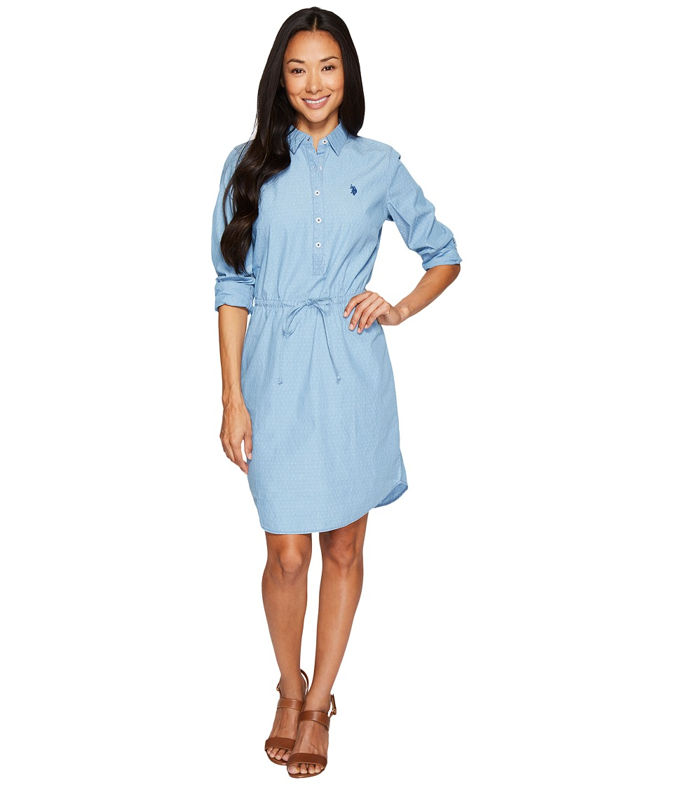 U.S. POLO ASSN. - Hi-Lo Pullover Shirtdress with Drawstreet Waistband (Blue) Women's Dress