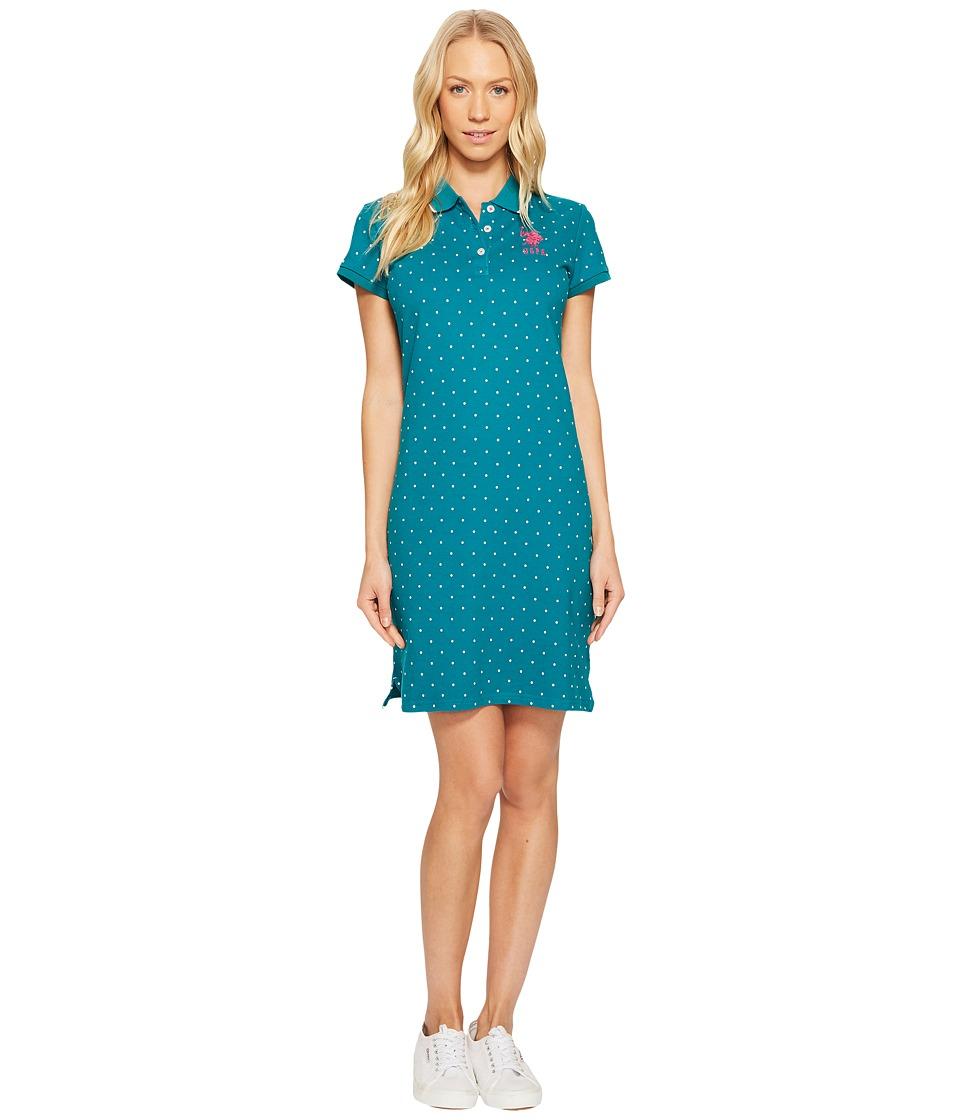 U.S. POLO ASSN. Stretch Pique Printed Polo Dress (Everglade) Women