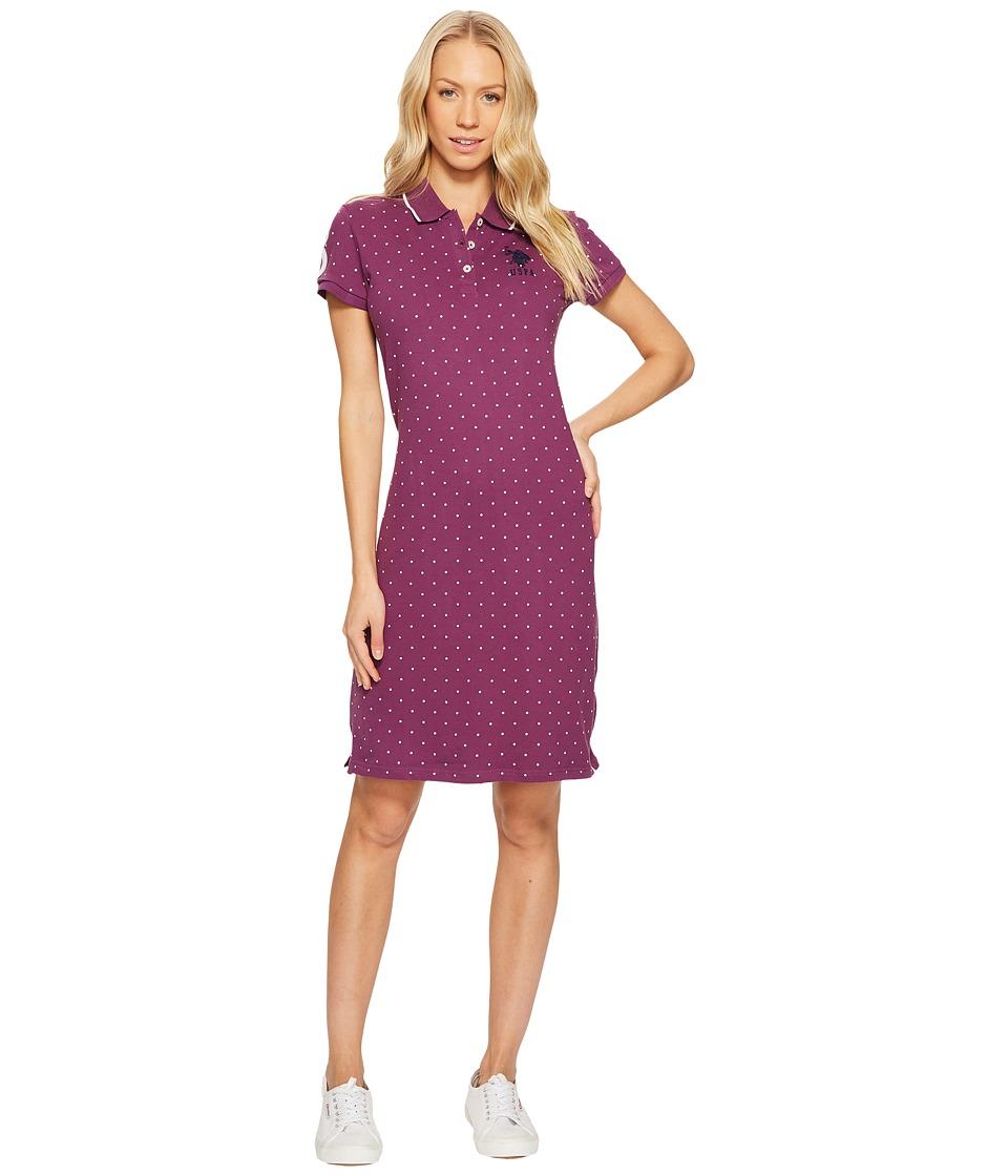 U.S. POLO ASSN. Stretch Pique Printed Polo Dress (Bramble Wine) Women