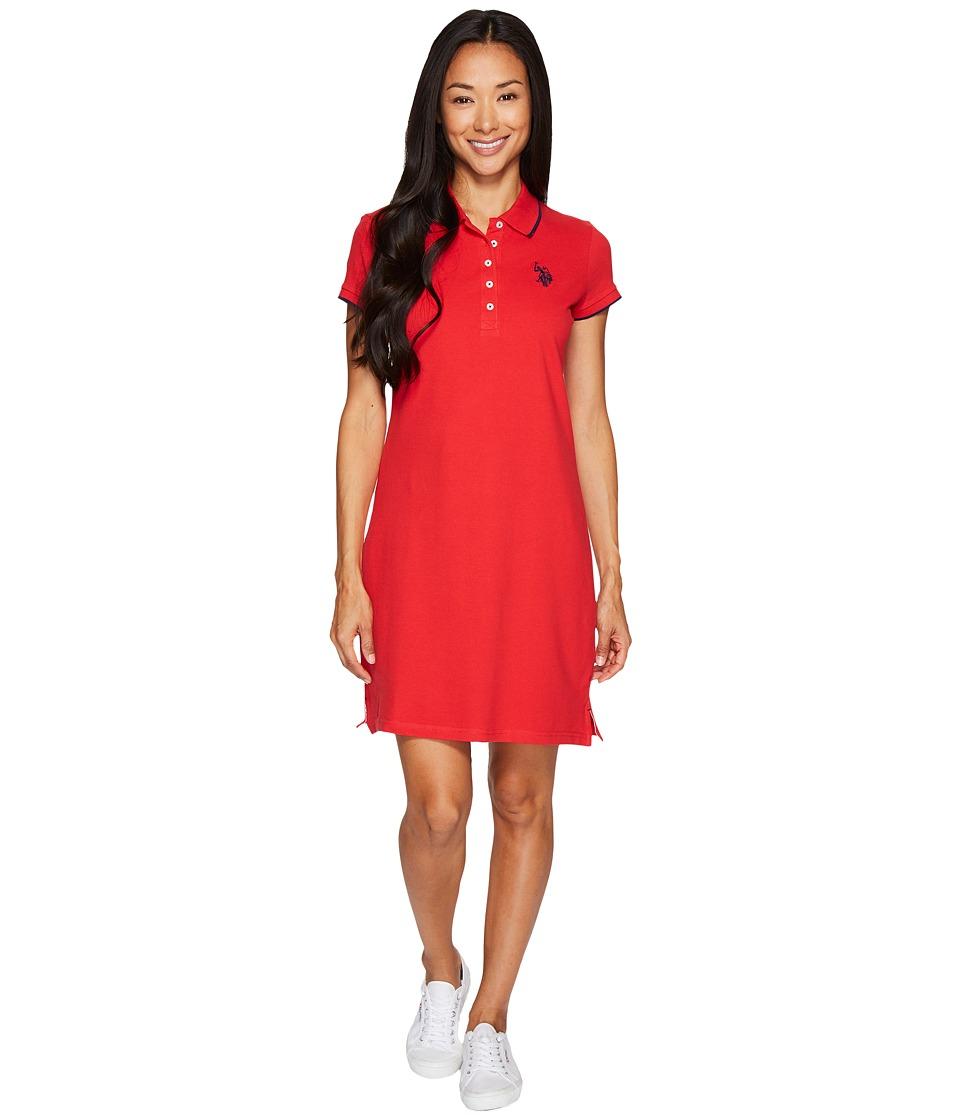 U.S. POLO ASSN. Stretch Pique Color Tippedl Logo Polo Dress (Racing Red) Women