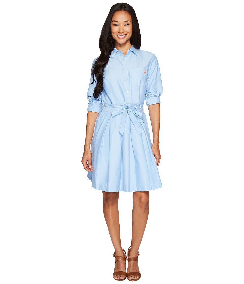 U.S. POLO ASSN. - Oxford Shirtdress with Paper Bag Waistline (Classic Blue) Women's Dress