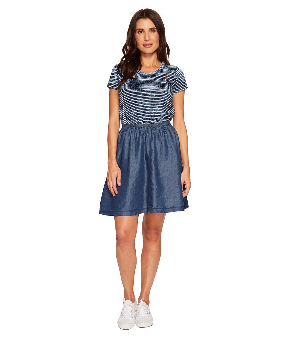 U.S. POLO ASSN. Striped Knit and Tencel Dress (Blue) Women