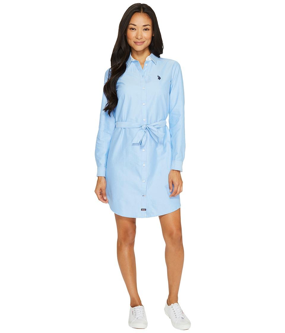 U.S. POLO ASSN. - Long Sleeve Oxford Shirtdress with Self Belt (Classic Blue) Women's Dress