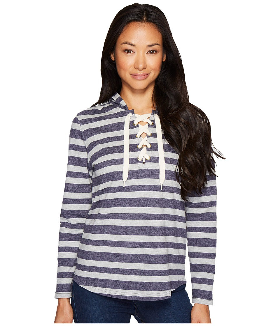 U.S. POLO ASSN. French Terry Striped Pullover Hoodie (Evening Blue) Women